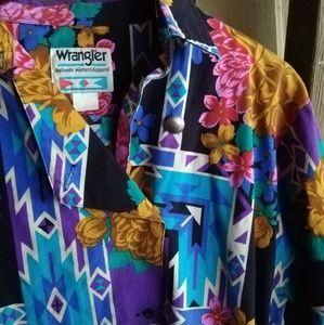 Vintage 90's Wrangler Aztec Rodeo Shirt